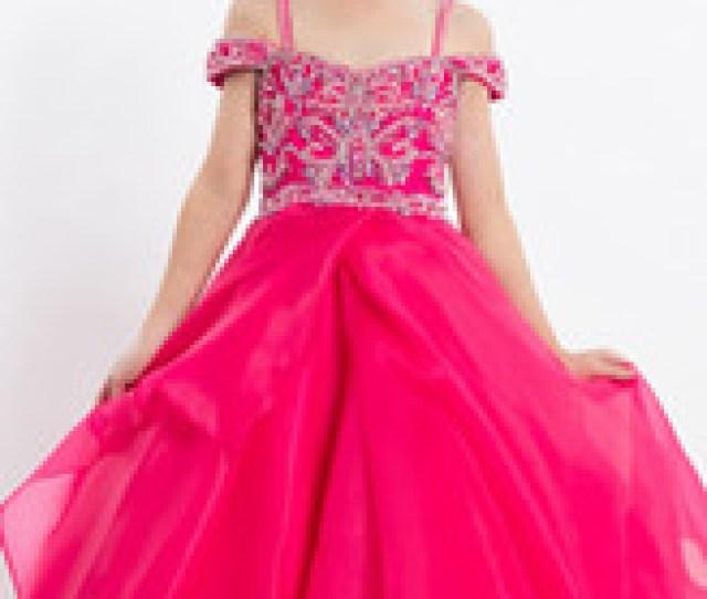 Cute 2018 Hot Pink Girls Pageant Dresses For Teens Princess Cold Shoulder Neckline Crystal Beaded Sequined Wedding Formal Flower Girl Dress