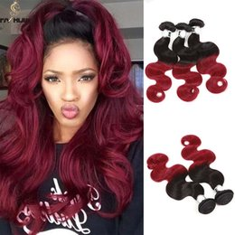 Two tone black and red hair color the best hair color 2017 3 bundles two tone colors 1b burgundy hair dyed weave extensions straight pmusecretfo Choice Image