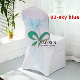 spandex chair covers wholesale canada kids camping sashes best selling 50 white wedding cover with baby blue organza