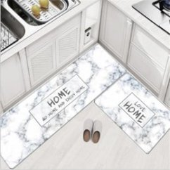 Blue Kitchen Rugs Storage Containers Discount Mats 2018 On 45x75cm 45x150cm Soft Pvc Nordic Style