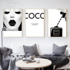 Wall Prints For Living Room Australia Best Lighting Low Ceiling New Featured Cuadros Coco Make Up Woman Art Poster Modern