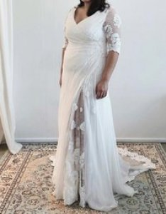 Plus size sheath wedding dress half sleeve sheer illusion back  neck ruched high waist chiffon bridal gown with slit summer style also styles chart online shopping rh dhgate
