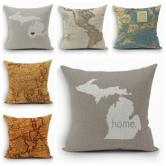 Shabby Chic Sofa Bed Uk Cheapest Corner Sofas Online Shop Throws Free Vintage World Map Cushion Cover Home Decor Ocean Ship Almofada 45cm Cotton Linen Throw Pillow Case For Couch