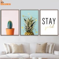 Wall Prints For Living Room Australia Navy Blue And Silver Decor New Featured Colorfulboy Art Canvas Painting Cactus Pineapple Modern Posters