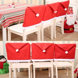 decorative chair covers for sale lightweight beach christmas kitchen online shopping festival cover dining non woven fabric red hat with ball back new year le106
