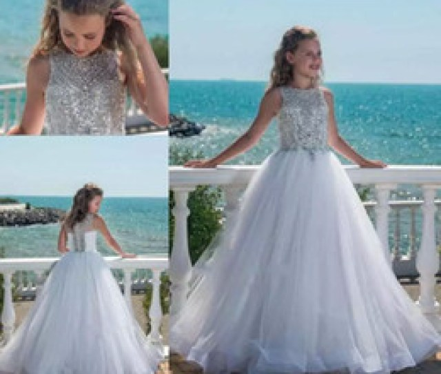Discount Hot Teens Dresses Hot Selling Crystal Little Flower Girls Dresses For Weddings Teens Tulle