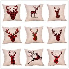 Cotton Dining Chair Covers Australia Bean Bag Filler New Featured Christmas Plaid Pattern Pillow Case Linen Deer Cover For Sleeping Traveling Sofa