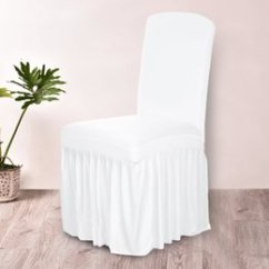 White Dining Chair Covers Australia Extra Wide Zero Gravity Spandex New Featured Stretch Elastic Cloth Ruffled Washable