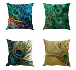 feather sofa cushions sectional sofas va beach online shopping for sale vintage peacock decorative linen pillow case 45 45cm cushion cover home decor pillowcase textile living