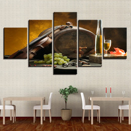 kitchen wall art decor wood table sets painting nz buy new canvas frame 5 pieces wine