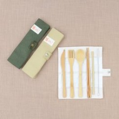 Kitchen Supplies Online Discount Chairs Bamboo Shopping Portable Reusable Tableware Set Knife Fork Chopsticks Straw Mini