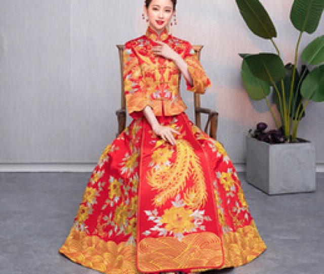 Asians Beauties Australia Oriental Asian Bride Beauty Chinese Traditional Wedding Dress Women Red Floral Long