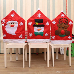 christmas chair back covers uk three chairs in spanish shop kitchen santa claus snowman elk dining for wedding decoration