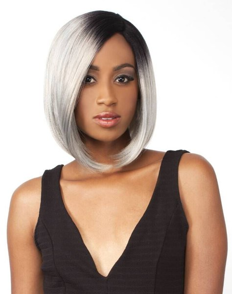 Long Bob Ombre Black To Grey Ombre Synthetic Fashion Sexy Women Wig Silky Straight Quality Cosplay Wig Wearing Synthetic Wigs Full Lace Remy Wigs From