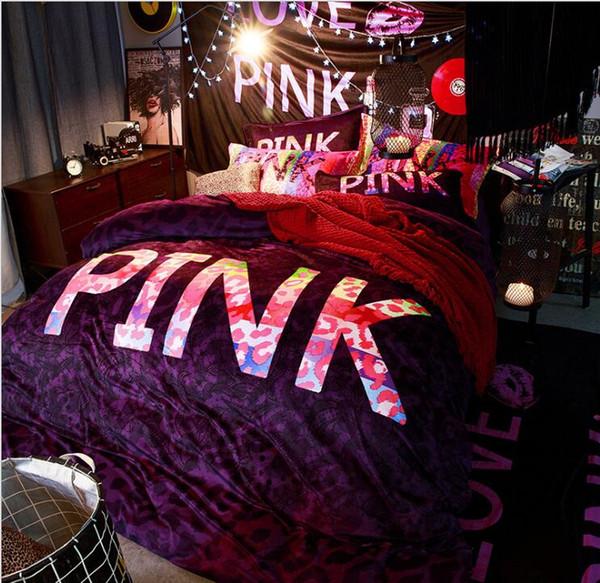 amour rose americain rose imprime 4pcs draps ensemble de literie linge de maison accueil roupa de