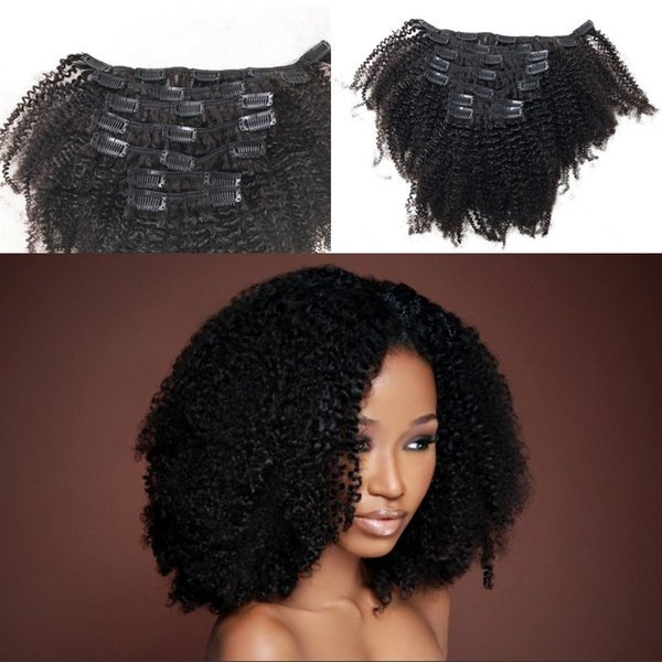 Clip In Human Hair Extensions For African American Natural Black