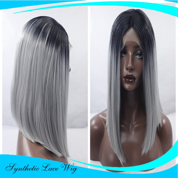 Short Bob Grey Wig Straight Black Root Gray Ombre Synthetic Bob Lace Front Wigs For Women Equal Wigs Blonde Lace Front Wigs From Abclacewigs 30 56