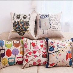 Behind The Chair Promo Codes Bean Bags Chairs For Toddlers Car Seat Cushion Covers Cartoons Coupons Deals 2019 45cm Cute Owl Square Cotton Linen Cover Sofa Decorative Throw Pillow Cartoon Bird Minervahome Case