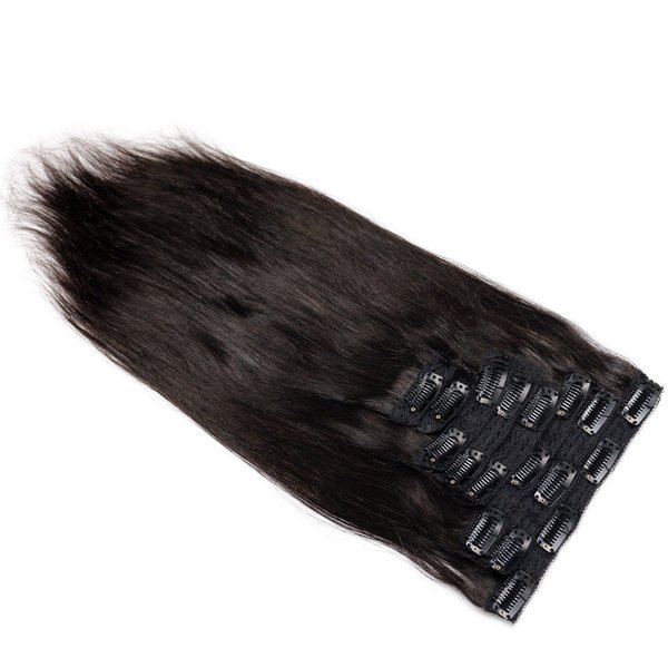 Brazilian Remy Straight Hair African American Clip In Human Hair