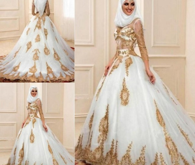 Fashion Muslim Ball Gown Wedding Dresses 3 4 Sleeves With Gold Appliques Arabic Bridal Gown Indian Style Engagement Dresses Robe De Mariage