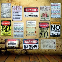 Kitchen Signs For Work Utensil Organizer Coupons Promo Codes Deals 2019 Get Cheap Mike86 Beware Zombies Family Rule Wall Tin Sign Metal Painting Retro Gift Pub Office Home Decor 20x30 Cm Aa 938b