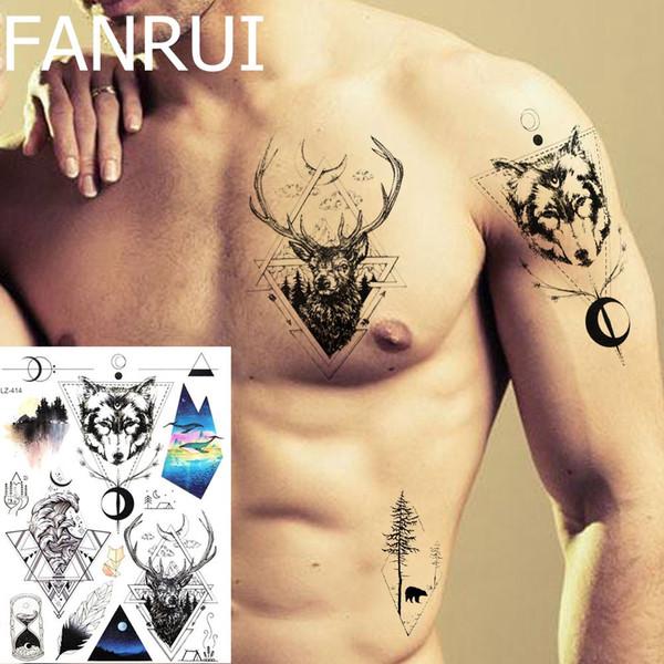 Pegatinas Para Tatuajes Temporales Hombres Pecho Ciervo Totem Tatoos