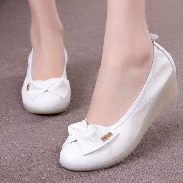 2015 Fashion White Nurse Shoes Cowhide Genuine