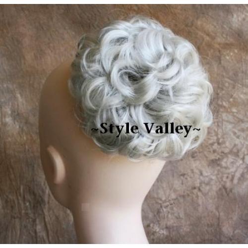 SilverWhite Wig BUN Extension Hair Piece Synthetic