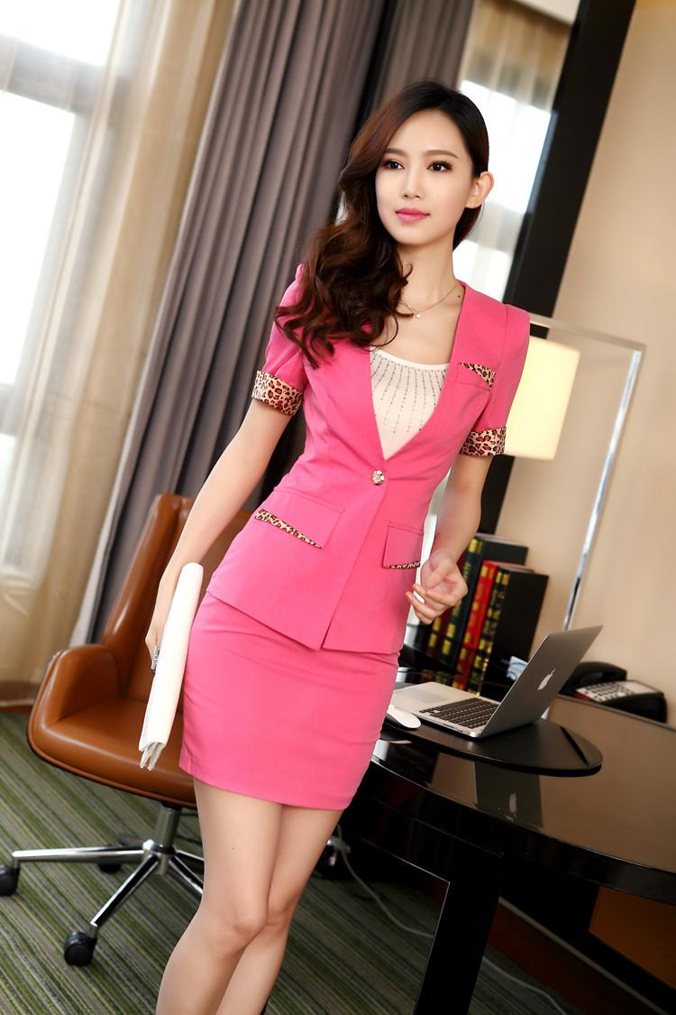 New Pink Business Suits Women Work Wear Skirts Sets Short Sleeve Blazer Suits With Leopard Printed Spring Summer Suits Plus Size