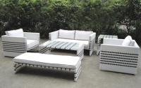 2018 Black Strip White Rattan Sofa Set Garden&Outdoor