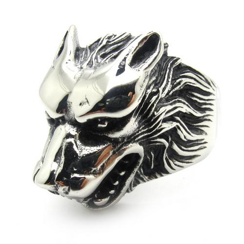 Whosale Price Gothic Style Cool Silver Plated Wolf Ring