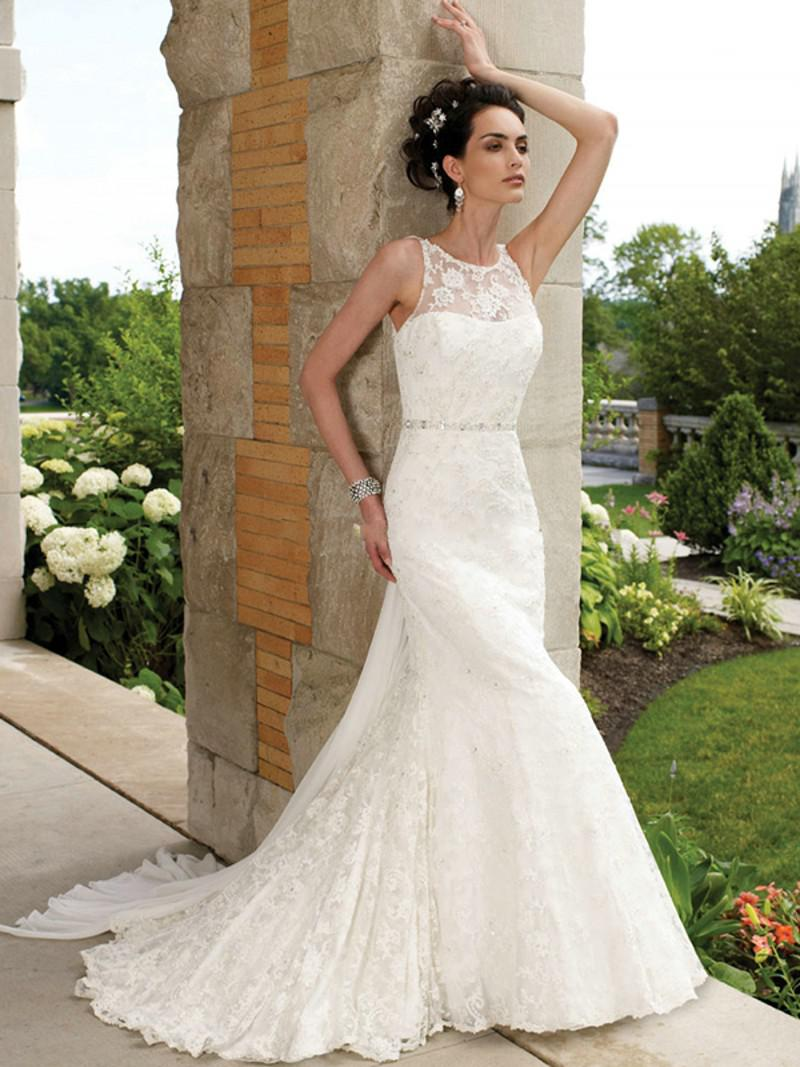 MermaidTrumpet Lace Straps Dropped Backless Sweep Wedding Dresses With Sash Lace And Appliques