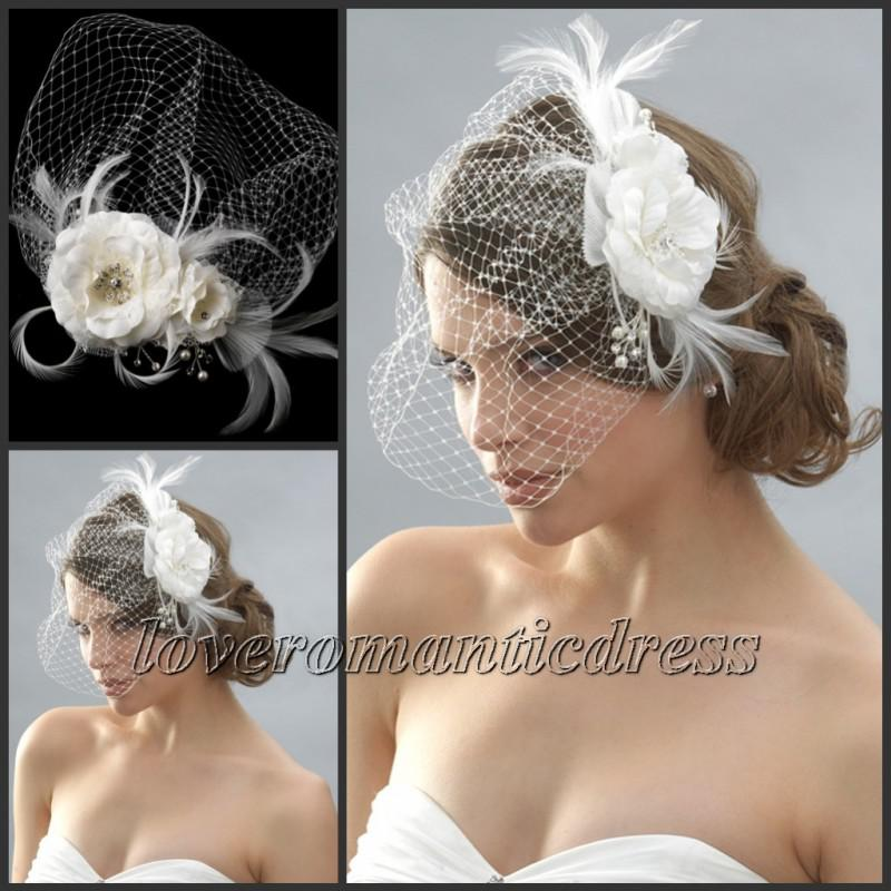Cheap Beaded Feather Hair Pieces Wedding Bridal Hat