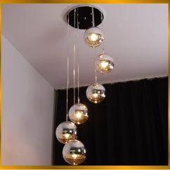 Hanging Pendant Light Living Room Design Curtains Fumat Modern Semi Chrome Mirror Ball Chandelier Loft Lights Suspension Office