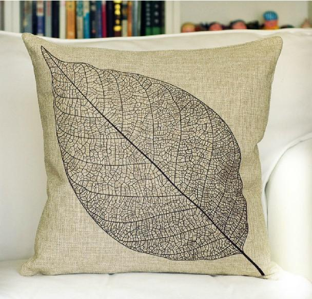 Leaf Design Cotton Linen Printed Pillow Cover Cushion