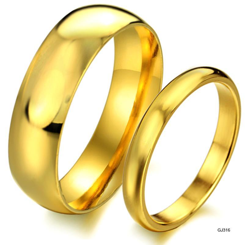 BEST SELLING YELLOW GOLD PLATING COUPLE RINGS SIMPLE