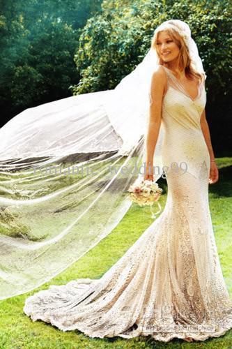 Kate Moss Luxury Mermaid Bridal Inspired Dresses Lightly Sequined