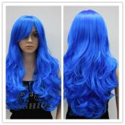 long curly hair bright blue 24
