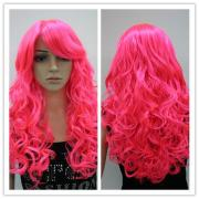 long curly hair hot pink 24 costume