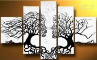 2018 Abstract Black White Oil Painting Couple Love Tree ...