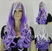 white & purple long curly hair