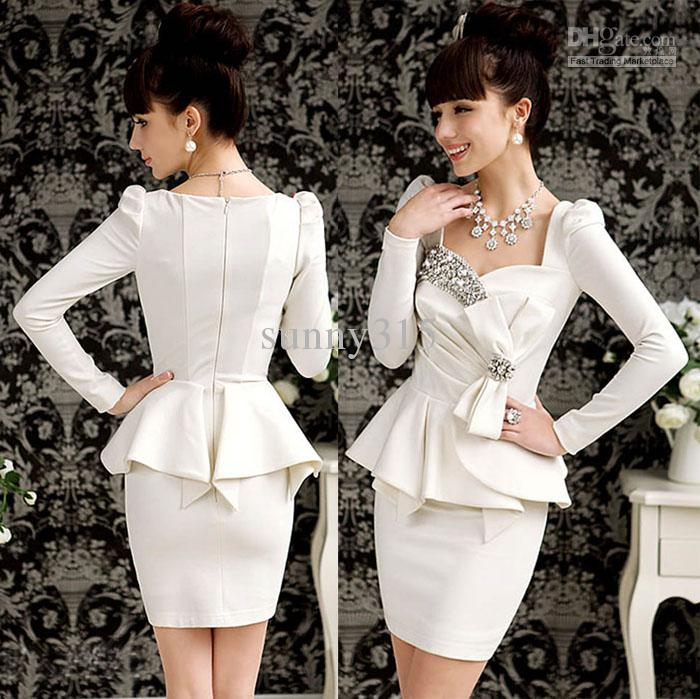 Elegant 2015 Dress Women Ladies Bling Long Sleeve Formal ...