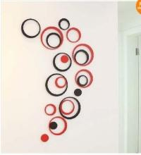 5 Circles Ring Creative Stereo Wall Stickers Mural Indoor ...