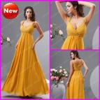Dark Sexy Long Yellow Prom Dresses