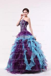 Purple And Blue A Line Quinceanera Dresses Sweetheart ...