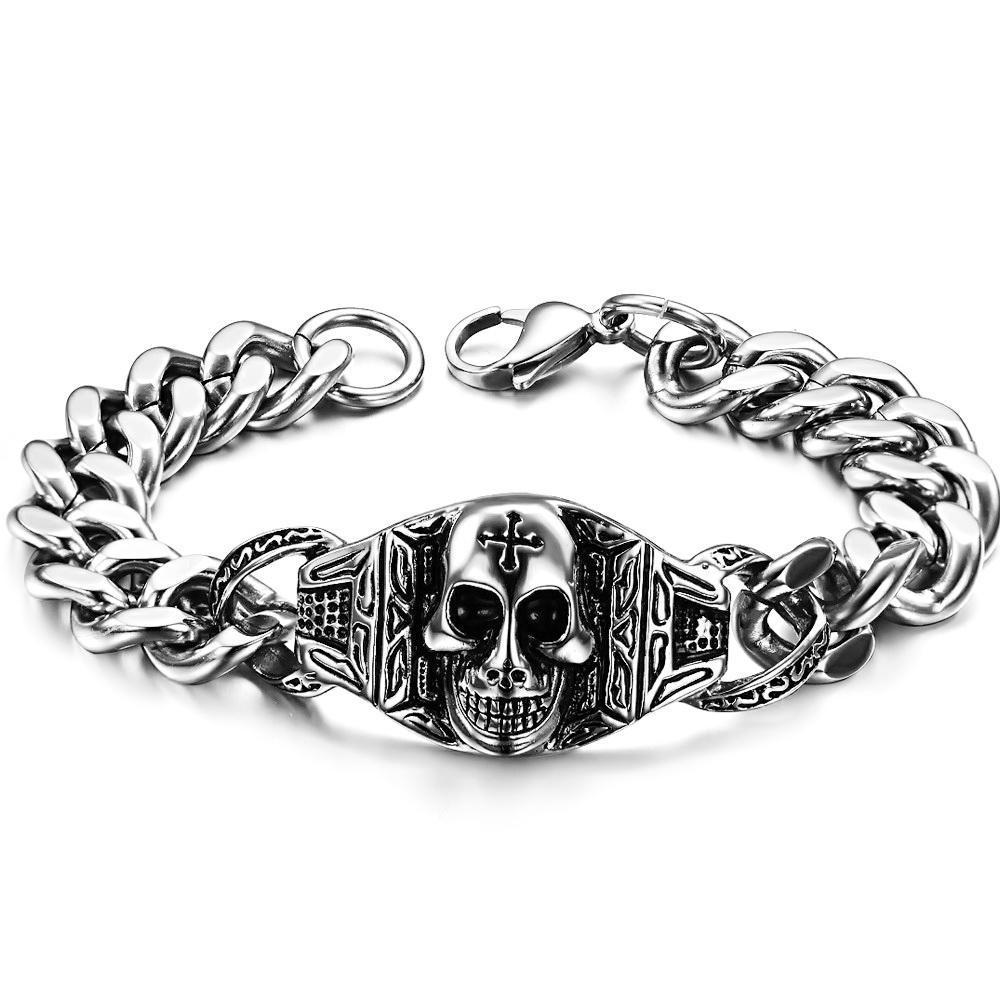 2019 New Arrival Punk Style Skull Bracelet Stainless Steel