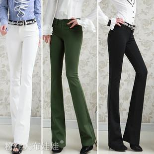 2018 Women Trousers Low Waist Tight Fitting Boot Cut White