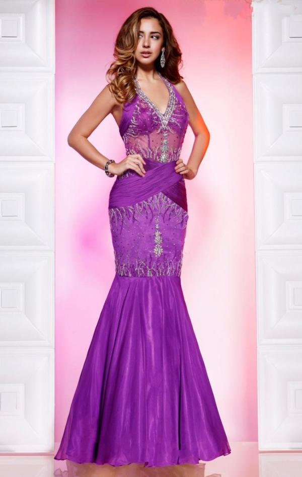 Dresses Fashion 2013 Purple Mermaid Halter Prom