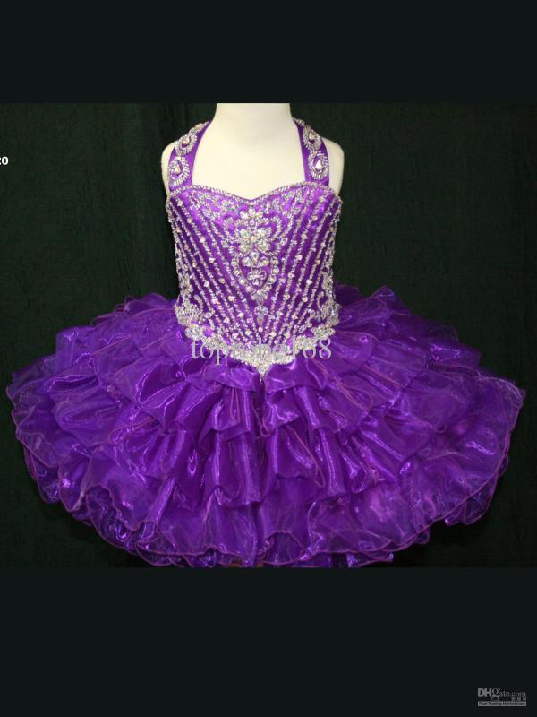 F059 Purple Short Lovely Infant Toddler Prom Pageant Girl' Party Princess Flower Girl Dresses