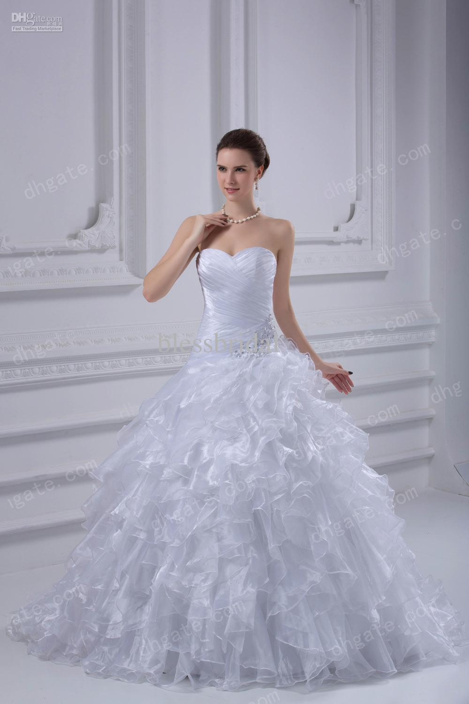 Custom Made Cute 2013 Wedding Dresses Strapless Organza Applique Ball Gowns Corset Dresses Dress
